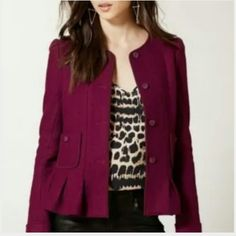 final. price Anthropologie blazer new!  never used perfect wine,  purple Anthropologie Jackets & Coats Blazers