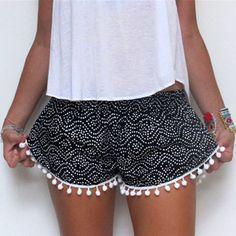 2016 mujeres del verano del estilo de la borla pantalones cortos de impresión pantalones cortos ocasionales lindo Sportwear para las niñas S XL 2 colores LX159 en Shorts de Moda y Complementos Mujer en AliExpress.com   Alibaba Group