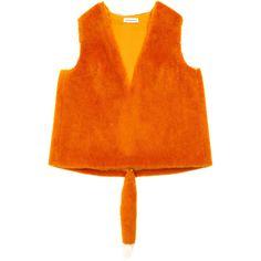 Vika Gazinskaya Faux Fur Top (1,623,910 KRW) ❤ liked on Polyvore featuring tops, orange top, orange sleeveless top, sleeveless tops, vika gazinskaya and v neck sleeveless top
