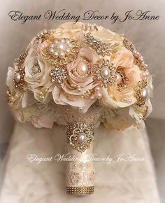 Custom Pink and Gold Brooch Bouquet  Gold Rose Gold Bridal