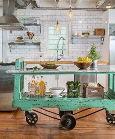See how Emily Danforth and Erica Edsell of Providence, Rhode Island turned this old mill cart into the perfect kitchen island for their 1900 Gothic Revival home.