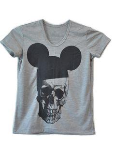 Baby Look Caveira Mickey #humor #fashion #moda #girlstyle #modafeminina #skull #mickey #caveira #grey #disney