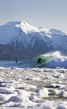 Alaskan surfer Mike McCune rides a wave with snow, slush, and ice packed against the beach during a cold winter surf session in Homer, Alaska. The snowy Kenai mountain range rises from Kachemak Bay in the background. Homer Alaska, Water Surfing, Visit Alaska, Places To Go, Around The Worlds, Waves, Tours, Mountains, Beach