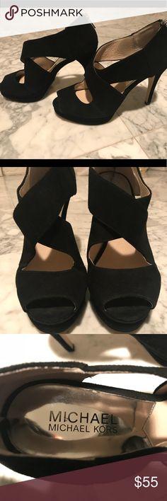 Michael Kors Elena Cross Strap Heels Only worn to homecoming- Michael Kors Elena cross strap heels in size 8. MICHAEL Michael Kors Shoes Heels