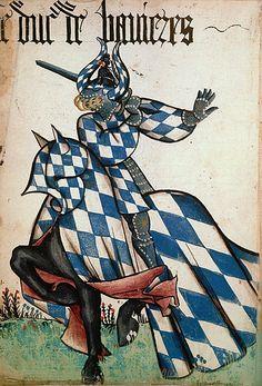 Le duc de Bavière, Grand Armorial équestre de la Toison d'Or, Flandres, 1430-1461.