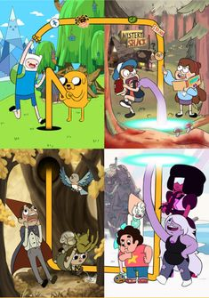 Cartoon Crossover - Adventure Time, Over The Garden Wall, Steven Universe and Gravity Falls. Art Adventure Time, Adventure Time Finale, Adventure Time Crossover, Digimon Adventure, Abenteuerzeit Mit Finn Und Jake, Desenhos Cartoon Network, Desenhos Gravity Falls, Gravity Falls Comics, Hilarious Pictures