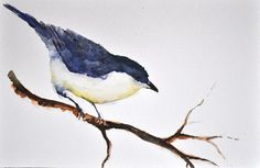 ORIGINAL Watercolor Painting, Watercolor Bird Painting, Blue Grey Bird  6x8 inch