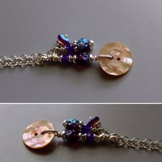 Antique mother of pearl button pendant with amethyst.