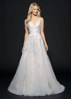 Hayley Paige V-Neck A-Line Gown in Tulle | KleinfeldBridal.com