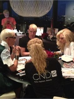 #behindthescenes from #NYFW: Jan Arnold and the CND team met with The Blonds to collaborate on the custom nail couture for this season's show - and everyone is, go figure, BLOND! #cndfortheblonds