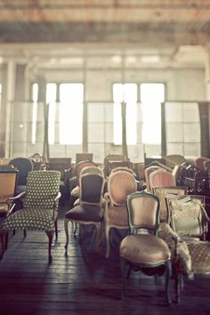 Mismatch chairs (via Urban NY Wedding : Image #386667 : Style Me Pretty)