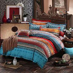 Newrara Home Textile,boho Style Duvet Cover Set,bohemia Exotic Bedding Set,4pcs Bedding Set,queen (king)