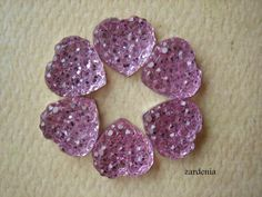 6PCS  Pink  Heart Rhinestone Cabochons  10mm  Sparkly  by ZARDENIA, $2.40
