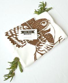 burrowing owl flour sack towel, 100% cotton, hand-printed, brown by birdmafia on Etsy https://www.etsy.com/listing/262936384/burrowing-owl-flour-sack-towel-100