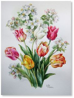 The long-awaited May. Flowers from the garden watercolor - Online shop - selling exhibition (paintings and sculptures) - Blumen Decoupage Vintage, Art Vintage, Folk Art Flowers, Vintage Flowers, Flower Art, Flowers Garden, Flower Pictures, Flower Images, Colour Pencil Shading