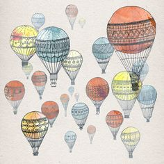 hot air balloon designs. i want to try this with stamps