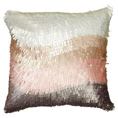 Textured cotton pillow with a color-blocked motif.  Product: PillowConstruction Material: CottonColo...