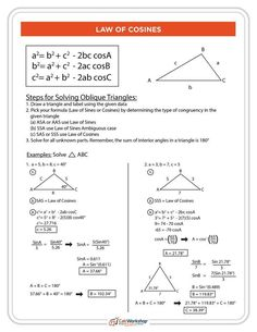 Law of Cosines PDF (Free Printable) which includes the formula, detailed steps to solve oblique triangles, and 2 practice problems. Great handout for students and teachers in PreCalculus, Trig, or even Algebra 2. Grab your FREE Cheat Sheet Today! #precalculus #trig #homeschooling #calcworkshop