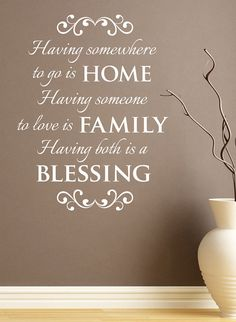 """Items similar to Wall Vinyl Quote - """"HOME, FAMILY, BLESSING"""" on Etsy"""
