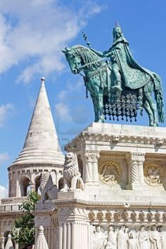 Statue of Saint Stephen I in Front of Fisherman's Bastion at Buda Castle in Budapest, Hungary