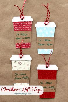 Coffee or Latte Container Christmas Gift Tags With Free Cut File Simply Kelly Designs - The BEST Christmas and Holiday FREE Printables - Gift Tags - Gift Card Holders - Christmas Greeting Cards and mo Easy Diy Christmas Gifts, Christmas Wrapping, Christmas Decorations, Christmas Gift Card Holders, Christmas Tags Handmade, Handmade Cards, Handmade Gifts, Cricut Projects Christmas, Handmade Decorations