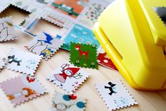 Make stamps with fancy scissors