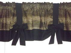 Leopard Cheetah Print Curtain Valance Black Trim With Bows 42W X 16