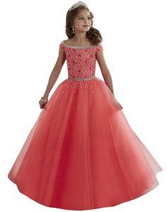 bb4fec832 Holy Communion Dresses Cap Sleeves Prom Dress Children Flower Girls Ball  Gown Crystal Beads Pageant Dresses