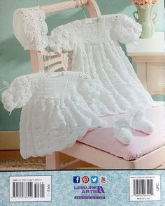 Christening Sets - There's a new family member on the way! Celebrate the little one's arrival by creating one of these two classic christening sets. Each set includes a lacy cap and booties with satin ribbon ties, as well as your choice of a short dress or long gown enhanced with ribbon. Whether you crochet Offset Shells or Open Crescents, you'll fashion an heirloom layette that will be worn and treasured by future generations. Available at MaggiesCrochet.com