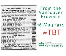 Check this out from the Vancouver Province May 16 1914. I wonder where Calgary st was? Or what became of some of those properties, I can guess they are worth a lot more now! Does anyone in #PrinceGeorge know what these lots are now? #Tbt Calgary, Vancouver, Prince, Check