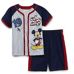 He will be ready for America's favorite pastime with this infant and toddler boy's Mickey Mouse baseball uniform shirt and shorts set from Disney. With pinstripes, tape-trimmed placket, and super-cute baseball designed buttons, this uniform top is a winner all around.