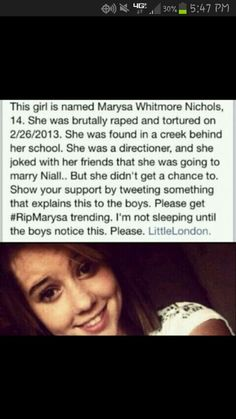 This is so sad... #RIPMarysa. If this isn't true and someone just made this up I will scream.