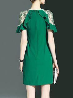 Elegant Sheath Short Sleeve Paneled Crew Neck Midi Dress - StyleWe.com