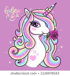 Illustration about Believe in magic. A beautiful, rainbow unicorn with a rose. Vector illustration for your design. Illustration of children, head, doodle - 120503191 Unicorn Poster, Unicorn Wall Art, Unicorn Drawing, Beautiful Unicorn, Cute Unicorn, Rainbow Unicorn, Cute Animal Drawings, Cute Drawings, Unicorn Wallpaper Cute