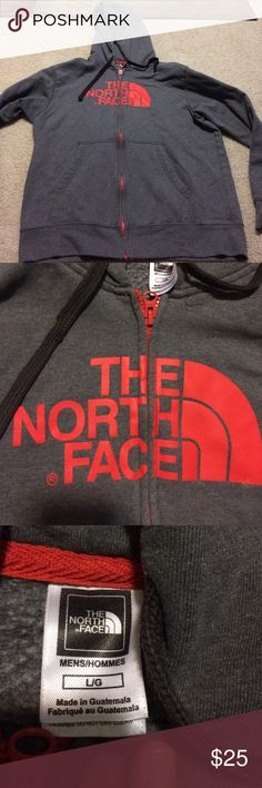 Men's The North Face hoodie large Men's The North Face hoodie large. In good used condition. Normal wear from washing it. Gray and orange in color. Comes from smoke free and pet free home. The North Face Jackets & Coats