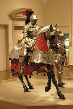 Armour for horse and man: Italy (probably Milan), ~1565. Field Armour: Italy, ~1575.