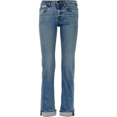 Helmut Lang Distressed mid-rise slim boyfriend jeans ($240) ❤ liked on Polyvore featuring jeans, blue, ripped boyfriend jeans, destroyed jeans, mid-rise jeans, distressed jeans and destructed boyfriend jeans