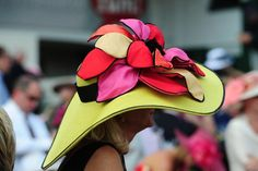 Large brimmed bright neon colored Derby Hat