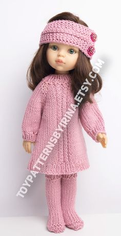 Doll's Clothing Knitting Pattern, Knitted Doll Outfit, Knitted Clothes for 13 inch Doll, Knit Outfit This knitting pattern contains the instruction on the knitting ONLY of a set of clothes for the Paola doll . Knitting Dolls Clothes, Baby Doll Clothes, Crochet Doll Clothes, Doll Clothes Patterns, Clothing Patterns, Knitted Doll Patterns, Knitted Dolls, Knitting Patterns, Knit Doll Hat