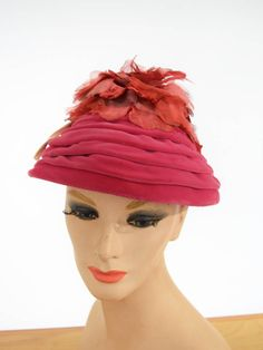 59f67496766 50s 60s Pink Velvet and Flower Beehive Hat