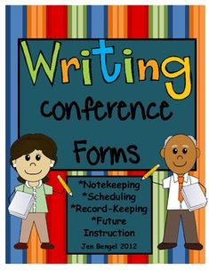 9 reproducible teacher forms for asking questions during a writing conference, scheduling, collecting data and assessing 6 traits, record-keeping, planning for future instruction, and using mentor text in writing conferences.