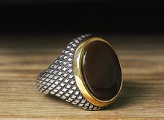 925 K Sterling Silver Man Ring Brown Agate 12 US Size  $22.10