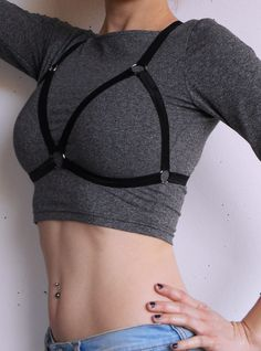Black Elastic Cage Bra Harness by RABBITHEARTshop on Etsy