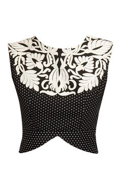 Black and white embroidered peplum blouse by Niki Mahajan. Shop at: http://www.perniaspopupshop.com/designers/niki-mahajan