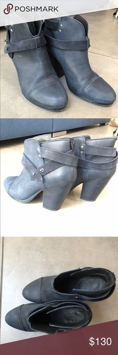 Rag & Bone Harrow Boot sz 38.5 Blue Harrow Boot, Size 38.5. Left foot is missing a suede tab on the back. Gently used. rag & bone Shoes Ankle Boots & Booties