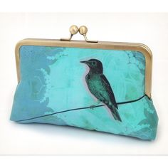 Clutch bag, bridesmaid gift, wedding purse, teal turquoise silk, BIRD... ($87) ❤ liked on Polyvore featuring bags, handbags, clutches, teal clutches, bird purse, teal purse, blue clutches and silk purse