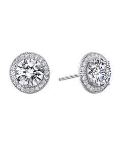 Lafonn Round Framed Stud Earrings | $135