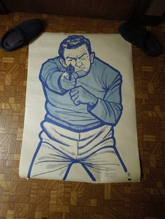 Vintage Thug Gun Shooting Range Target Paper Poster Print RARE Find