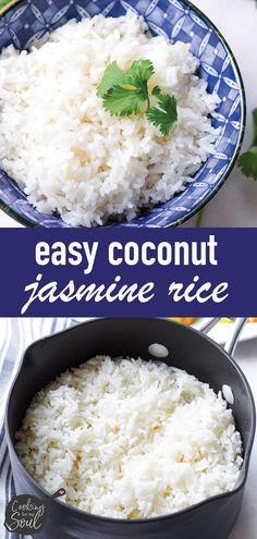 Coconut Milk Rice, Jasmine Rice Recipes, Coconut Milk Recipes, Cocunut Milk, Cooking Jasmine Rice, Cooking Rice, Healthy Cooking, Indian Food Recipes, Vegetarian
