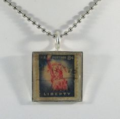 Vintage USA Postage Stamp Necklace  Lady Liberty by 12be on Etsy, $14.50